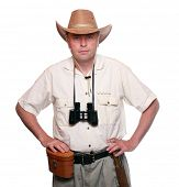 Park ranger with his binoculars.  Studio shot isolated on white background