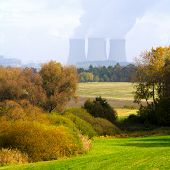 Rural South Bohemian landscape with nuclear power plant Temelin.