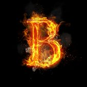 Fire letter B of burning flame. Flaming burn font or bonfire alphabet text with sizzling smoke and f poster