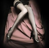 Beautiful slim legs in black nylons on a pink background. Monochrome photography - great for calenda