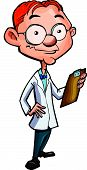Cartoon doctor with a clipboard