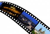 Travel shots from Prague City in Czech Republic - Europe on film strip.
