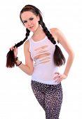 Young woman with beautiful long braids.