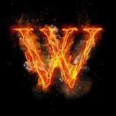 Fire letter W of burning flame. Flaming burn font or bonfire alphabet text with sizzling smoke and f poster