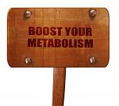 boost your metabolism, 3D rendering, text on wooden sign poster