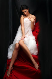 picture of striper  - Naked sexy beautiful slenderness young woman in bridal veil on black background - JPG