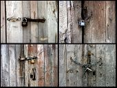an image of different ruinous doors and rusty locks