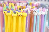 Cute Pastel Color Cosmetics Pencils With Animal Heads. Asian Cosmetics, Korean Beauty, Makeup, Skinc poster
