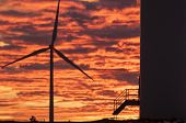 Wind Turbines At Sunset, Wind Energy Win poster