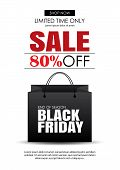 Black Friday Sale Flyer Template. White Background With Shopping Bag. Use For Poster, Newsletter, Sh poster