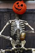 Pumpkin And Skeleton