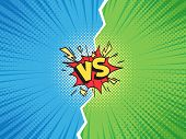 Comic Frame Vs. Versus Duel Battle Or Team Challenge Confrontation Cartoon Comics Halftone Backgroun poster