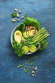 Avocado, Asparagus, Micro Greens, Lime, Mint, Lettuce And Cashew Nuts. Detox Bowl Buddha. Blue Rusti poster