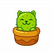 Cartoon Cactus Cat In Flower Pot, Cute Prickly Kitty Drawing. Isolated Vector Illustration. poster