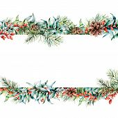 Watercolor Christmas Floral Banner. Hand Painted Floral Garland With Berries And Fir Branch, Eucalyp poster