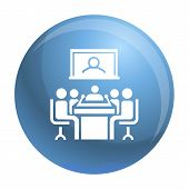 Video Conference Icon. Simple Illustration Of Video Conference Vector Icon For Web Design Isolated O poster