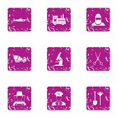 Private Affair Icons Set. Grunge Set Of 9 Private Affair Vector Icons For Web Isolated On White Back poster