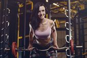 Beautiful Sexy Athletic Young Girl Working Out In Gym poster