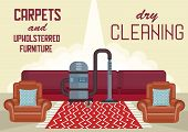 Dry Cleaning Carpets And Upholstered Furniture. Cleaning Service Business Concept. Washing Vacuum Cl poster
