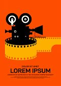Movie And Film Poster Design Template Background Modern Vintage Retro Style. Can Be Used For Backdro poster