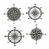 Rose Of Winds Symbol Of Nautical Navigation Compass, Marine And Seafarer Theme. Vector Icons Of Ship poster