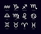 Zodiac Signs Set Isolated On Black Background. Star Signs For Astrology Horoscope. Zodiac Line Styli poster