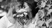 Man Bearded Hipster Kisses Girlfriend. Secret Romantic Kiss. Love Romantic Feelings. Moment Of Intim poster
