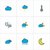 Climate Icons Colored Line Set With Clouded, Cloudy Day, Freeze And Other Scale Elements. Isolated   poster