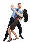 Постер, плакат: Счастливый бизнес пара танцы и смех на белом фоне