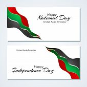 Cards With Wavy Lines Waveform Colors Of The National Flag Of United Arab Emirates (uae) With The Te poster
