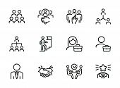 Career Promotion Line Icon Set. Candidate, Selection, Interview. Human Resource Concept. Can Be Used poster