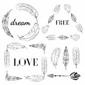 Vector Set Of Boho Style Frames And Hand Drawn Elements. With Feathers Fashion Frames With A Motivat poster