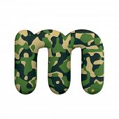 Army letter M - Small 3d Camo font isolated on white background. This alphabet is perfect for creati poster