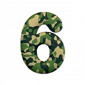 Army number 6 - 3d Camo digit isolated on white background. This alphabet is perfect for creative il poster