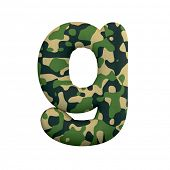 Army letter G - Lowercase 3d Camo font isolated on white background. This alphabet is perfect for cr poster