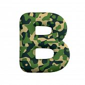 Army letter B - large 3d Camo font isolated on white background. This alphabet is perfect for creati poster
