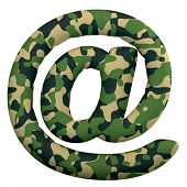 Army email sign - Arobase symbol3d Camo symbol isolated on white background. This alphabet is perfec poster