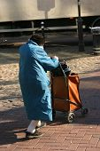 picture of old lady  - An elderly lady out and about shopping in town - JPG
