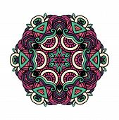 Round Lace Colorful Doodle  For Art, Coloring Book, Zendoodle. Round Zentangle For Coloring Book Pag poster