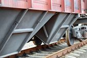 Closeup of a railroad carriage for dry cargo