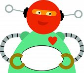 Chubby Robot Holding Blank Oval Sign