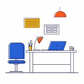 Vector Illustration Office Interior, Office Decor: Desk, Computer, Laptop, Desk Lamp. Office Furnitu poster