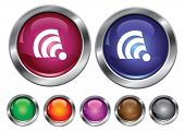 Vector collection icons with rss sign, empty button included