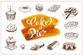 Hand Drawn Pastry Icons Set With Dessert Pie, Birthday Cake, Muffin Isolated On White Vector Backgro poster