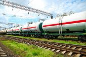 Set of tanks with oil and fuel transport by rail