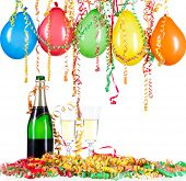 For New Year or other festivities, a pair of champagne glasses with balloon and