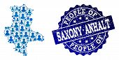 People Composition Of Blue Population Map Of Saxony-anhalt State And Scratched Seal Stamp. Vector Im poster