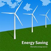 Energy Saving Wind Turbine Concept Background. Realistic Illustration Of Energy Saving Wind Turbine  poster