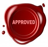 Red wax seal  with approved stamped across it - vector