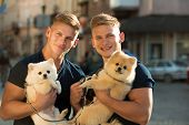 They Belong Together. Happy Family On Walk. Twins Men Hold Pedigree Dogs. Muscular Men With Dog Pets poster